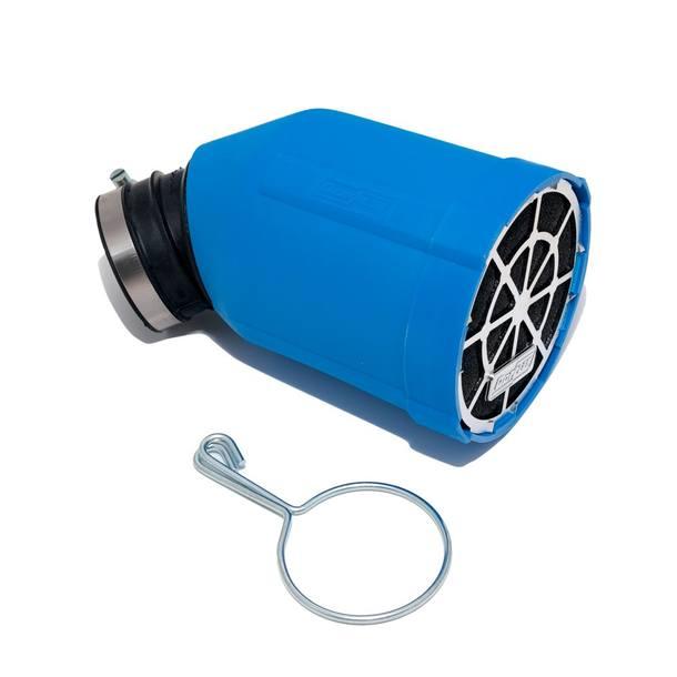 Rennluftfilter Doppler, Box blau, Filter rot, Grill chrom
