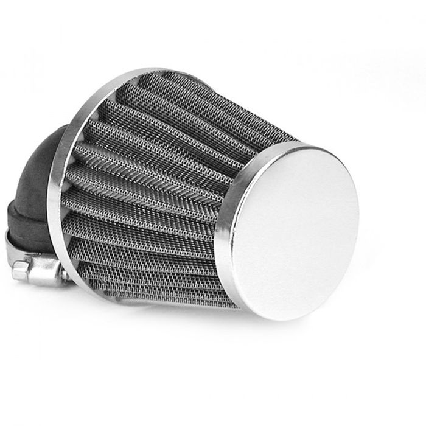 Luftfilter TNT Stahlgewebe Chrom, gewinkelt 90 Grad, Anschluss 28 / 35mm