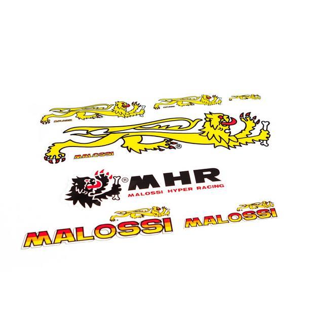 Aufkleber Malossi 4er Set / 4 Stück gelb rot
