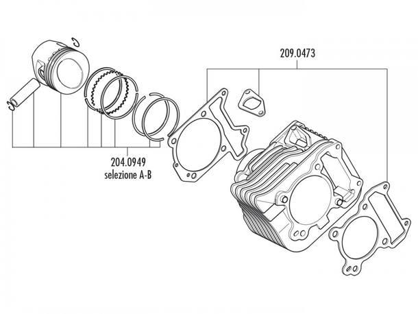 Zylinder Dichtungssatz Polini 198ccm für Piaggio 125ccm 4T 2V Leader