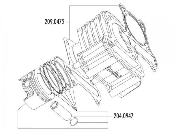 Zylinder Dichtungssatz Polini 221ccm 69mm für LML 200 4T (Vergasermodell)