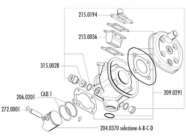 Zylinder Dichtungssatz Polini 47mm für Minarelli RV4-3, MR4