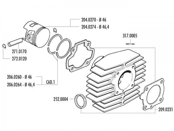 Zylinder Dichtungssatz Polini für Honda Camino, PX 50