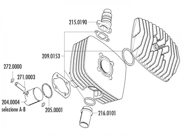 Zylinderkit Polini Serie 6000 70ccm 48mm für Sachs 6-Gang