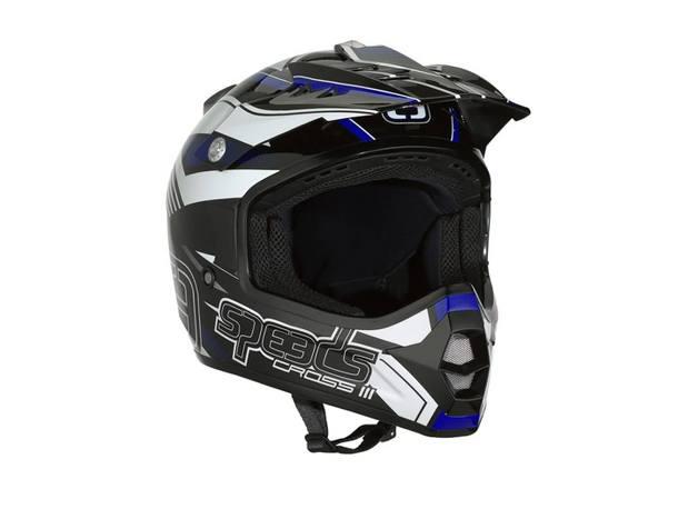 Helm Speeds Cross III schwarz / blau / weiß glänzend Größe S (55-56cm)